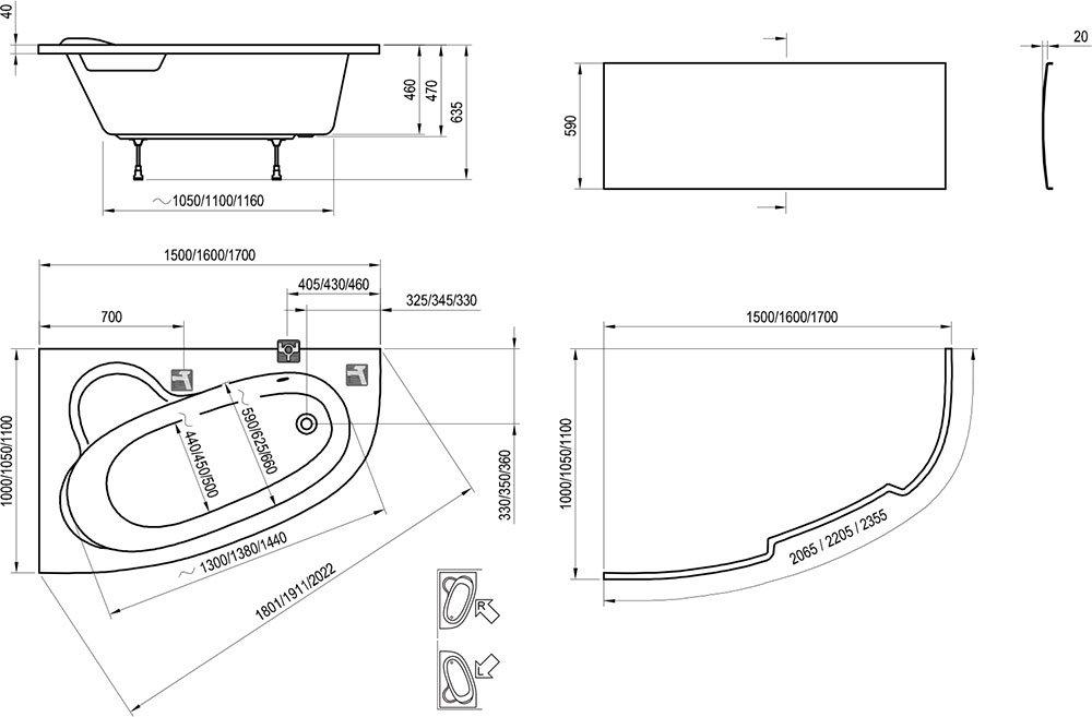 Badewanne Asymmetric - RAVAK GESELLSCHAFT für Sanitärprodukte mbH | {Eckbadewanne maße 160 54}