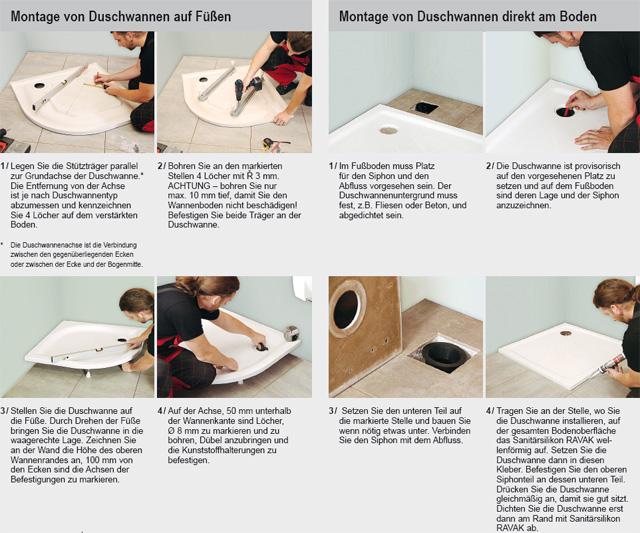 richtiger einbau der duschwannen und ablaufrinnen ravak gesellschaft f r sanit rprodukte mbh. Black Bedroom Furniture Sets. Home Design Ideas