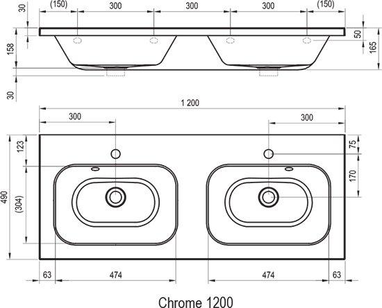Doppelwaschbecken maße  Doppelwaschbecken Chrome 1200 - RAVAK GESELLSCHAFT für ...